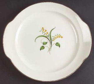 Edwin Knowles Forsythia Handled Cake Plate, Fine China Dinnerware   Yellow Flowe