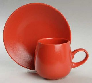 Lindt Stymeist Rso Brights Red (Round) Flat Cup & Saucer Set, Fine China Dinnerw