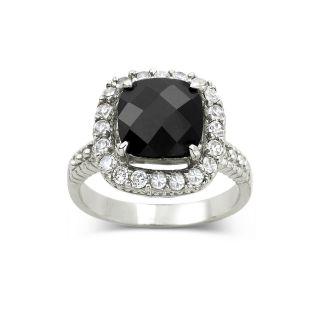 Bridge Jewelry Faceted Black Cushion Cut Ring
