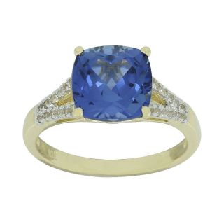 Lab Created Blue & White Sapphire Cushion Cut Ring, Womens