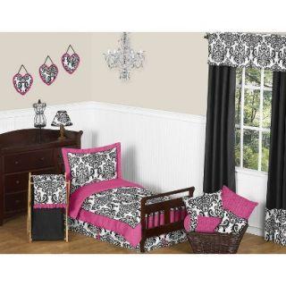 Isabella Hot Pink, Black and White 5 pc. Toddler Bedding Set