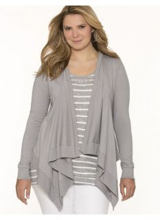 Lane Bryant Plus Size Casual wrap cardigan     Womens Size 14/16, Frost Gray