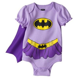Batgirl Newborn Infant Girls Bodysuit w/ Cape   Purple Newborn