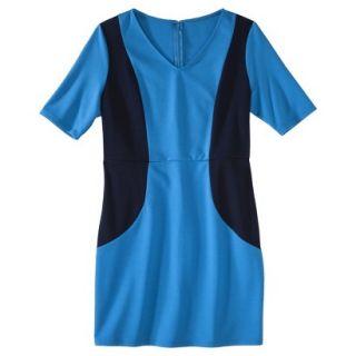 Merona Petites V Neck Colorblock Ponte Dress   Blue/Navy MP