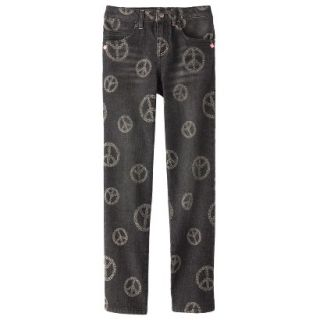 D Signed Girls Peace Sign Printed Skinny Jean  Black S