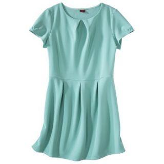 Merona Womens Plus Size Short Sleeve Pleated Front Dress   Aqua 4