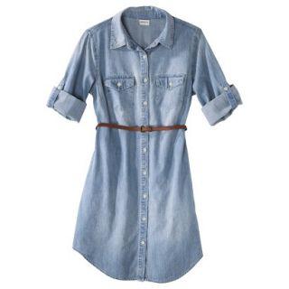 Merona Womens Denim Belted Shirt Dress   Blue   XS