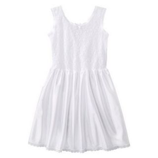 Girls Lace Nylon Full Slip   White 5