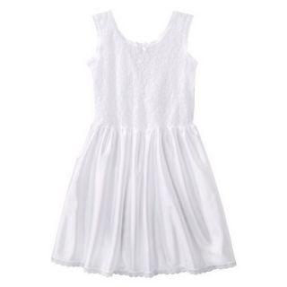 Girls Lace Nylon Full Slip   White 5
