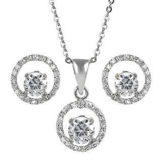 Sterling Silver Cubic Zirconia Jewelry Set   Clear