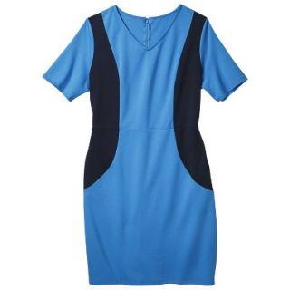 Merona Womens Plus Size V Neck Colorblock Ponte Dress   Blue/Navy 2