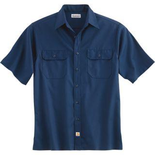 Carhartt Short Sleeve Twill Work Shirt   Navy, 2XL, Regular Style, Model S223