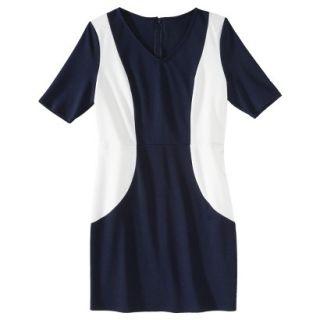 Merona Petites V Neck Colorblock Ponte Dress   Navy/Cream SP