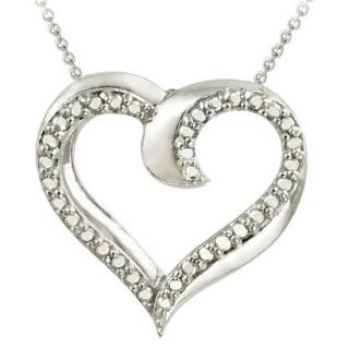 Sterling Silver Diamond Accented Heart Necklace 18