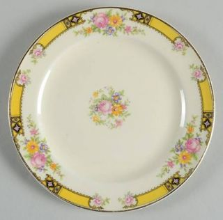 Edwin Knowles 402e1 Bread & Butter Plate, Fine China Dinnerware   Yellow Band W/