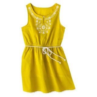 Girls Sleeveless Embellished Front Shirt Dress   Vintage Yellow XS