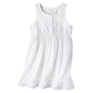 Girls Sleeveless Button Front Shirt Dress   Fresh White S