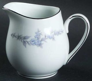 Mikasa Annbelle Creamer, Fine China Dinnerware   Blue Flowers, Gray Leaves,Plati
