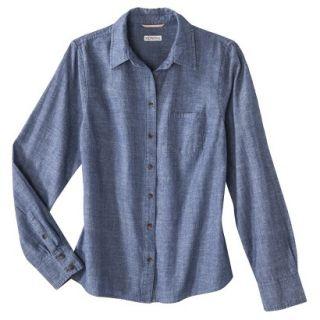 Merona Petites Long Sleeve Chambray Shirt   Blue MP