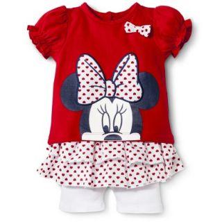 Disney Newborn Girls 2 Piece Minnie Mouse Set   Red 0 3 M