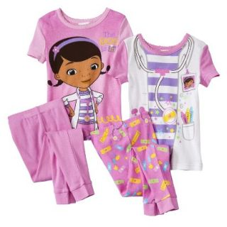 Doc McStuffins Toddler Girls 4 Piece Short Sleeve Pajama Set   Pink 2T