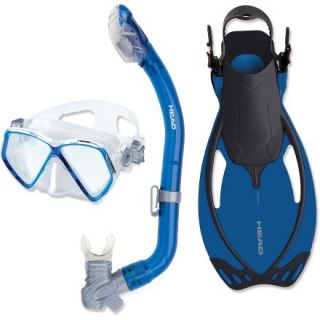 Head Head Pirate Mask, Snorkel and Fins Set  Kids,  Blue,  S/M