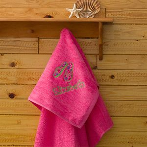 Beach Fun Personalized Pink Beach Towels