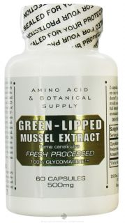 Amino Acid & Botanical   Green Lipped Mussel Extract 500 mg.   60 Capsules