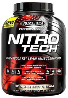 Muscletech Products   Nitro Tech Performance Series Whey Isolate Cookies and Cream   4 lbs.