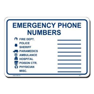 Lynch Sign 10 in. x 7 in. Blue on White Plastic Emergency Phone Numbers Sign EP  1