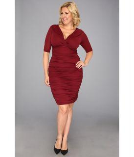 Kiyonna Betsey Ruched Dress Womens Dress (Red)