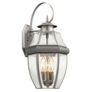 Hampton Bay Brushed Nickel 3 Light Outdoor Wall Lantern BOR1693