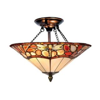 Dale Tiffany Dragonfly Agate 2 Light Antique Bronze Semi Flush Mount with Art Glass Shade DISCONTINUED TH10501