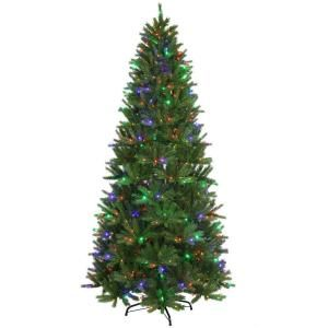 National Tree Company Feel Real 9 ft. Black Hill Medium Hinged Tree with 600 LED Multi Color Lights PEBH4 303L 90X