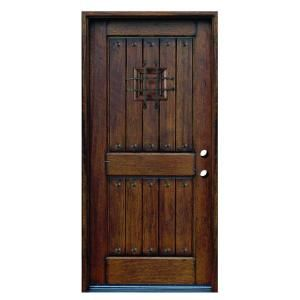 Main Door Rustic Mahogany Type Prefinished Distressed Solid Wood Speakeasy Entry Door SH 904 PH LH