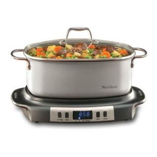 West Bend Versatility Oval Shaped 6 qt. Programmable Slow Cooker in Stainless Steel and Black DISCONTINUED WSB84966