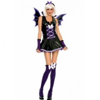 Music Legs Tween Vinyl Vampire Bat Girl Teen Halloween Costume: Clothing