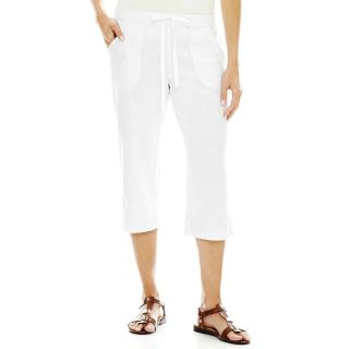 St. Johns Bay Linen Capris   Petite, White, Womens