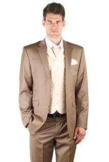 Dymastyle   Hochzeit anzug 3 teilig Super 150 Dark Beige   Beige   52: Bekleidung