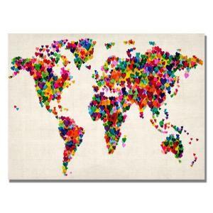 Trademark Fine Art 18 in. x 24 in. Hearts World Map Canvas Art MT0029 C1824GG