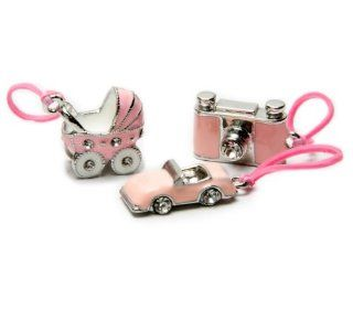 U B Rolling in Fashion Silver Pink Camera, Baby Carriage and Convertible Car (3 Charms), Compatible with Rubber Band Loom Bracelets Toys & Games