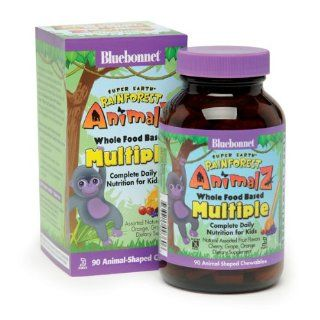 Super Earth Rainforest Animalz Whole Food Based Multiple Orange, Grape, Cherry Flavors Bluebonnet 90 Chewable: Health & Personal Care