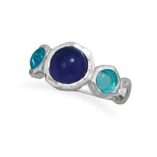 83337 Blue Glass Ring Ring Circle Finger Hand Palm Girl Woman Lady Metal Sterling Siliver 0.925