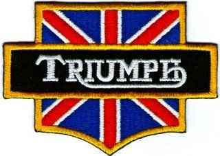Triumph British Flag Motorcycles Logo Sign Symbol Emblem Embroidered Sew Iron on Patch Iron on Embroidery Badge: Everything Else