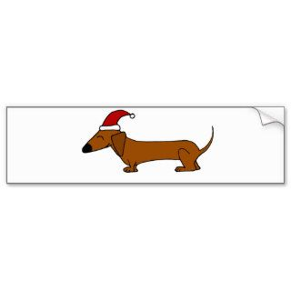 Funny Dachshund in Santa Hat Christmas Cartoon Bumper Stickers
