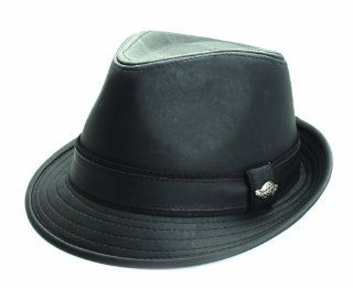 City Hunter Pmt320 Pu Solid Trilby Fedora   Black (S/m Size): Everything Else