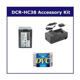 Sony DCR HC38 Camcorder Accessory Kit includes SDM 109 Charger, DVTAPE Tape/ Media, SDNPFH70 Battery  Camera & Photo