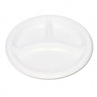 Plastic Dinnerware, Compartment Plates, 9'' dia, White, 125/Pack Kitchen & Dining