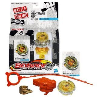 Hasbro Year 2012 Beyblade Metal Fury Performance Battle Tops   Balance SW145SD B 132 NIGHTMARE REX with Face Bolt, Rex Energy Ring, Nightmare Fusion Wheel, SW145 Spin Track, SD Performance Tip and Ripcord Launcher Plus Online Code: Toys & Games