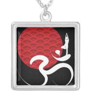 Red Sun Yoga Spiritual Indian Meditate Om Ohm Logo Personalized Necklace